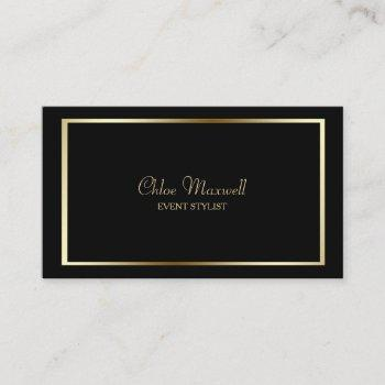 exquisite gold frame minimalist on black business card