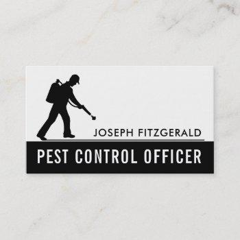 exterminator, black & white pest control business card
