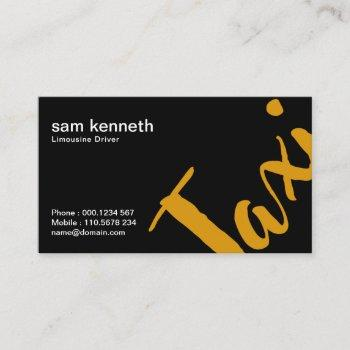 extravagant black simple bold professional taxi business card