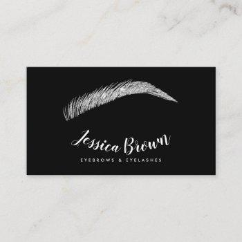 eyebrow lashes chic silver glitter name glam black business card