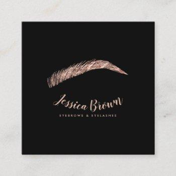 eyebrow lashes luxury rose gold glitter name glam square business card