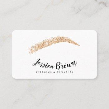 eyebrow lashes rose gold glitter name glam white business card
