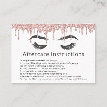 eyelash lash salon rose gold drips aftercare business card