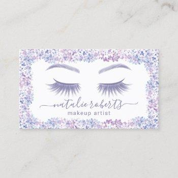 eyelash makeup artist lavender floral beauty salon business card