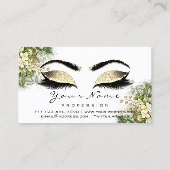 eyelashes aftercare instructions floral mint white business card