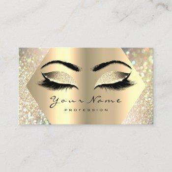 eyelashes glitter makeup artist champaigne gold business card