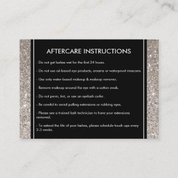 eyelashes with silver glitter salon aftercare card