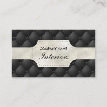 fake black and white tufted leather look-like business card