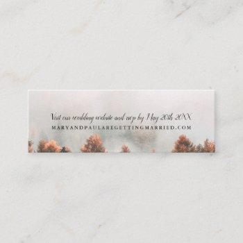 fall winter pine trees forest photo wedding detail mini business card