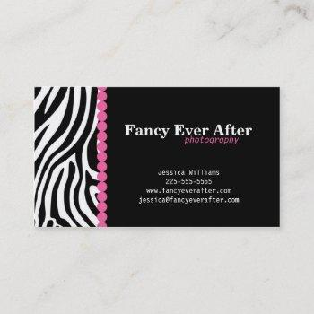 fancy zebra print business card