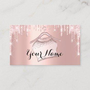 fashion boutique cloth hanger rose pink glitter business card