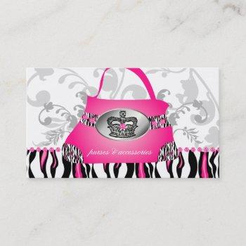 fashion handbag crown purse pink zebra floral 2 business card