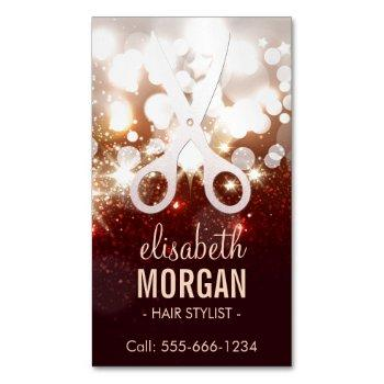 fashionable hair stylist - gold glitter sparkle business card magnet