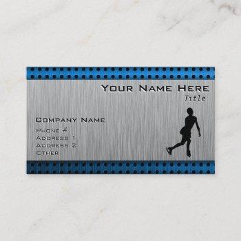faux brushed metal; figure skating business card