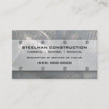 faux brushed silver metal-look business card