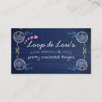 faux chalkboard crochet hook ball of yarn crafting business card