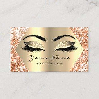 faux champaigne gold glitter makeup lashes business card