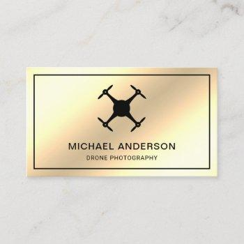 faux cream gold foil modern drone photography business card