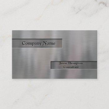 faux embossed brushed aluminum business card