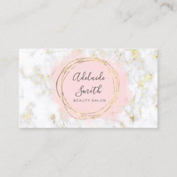 faux foil circle pink watercolor on marble business card