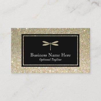 faux glitter dragonfly business card