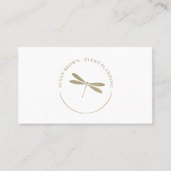 faux glitter dragonfly logo business card