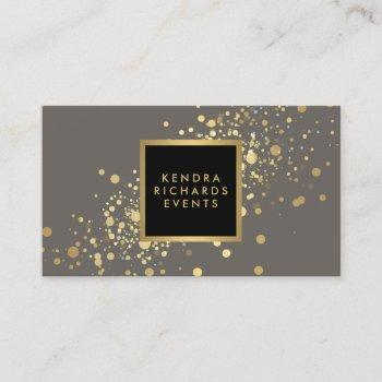 faux gold confetti on modern gray business card