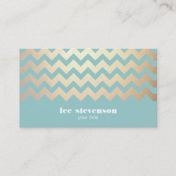 faux gold foil chevron pattern and turquoise blue business card