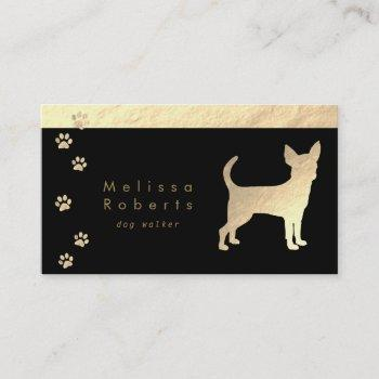 faux gold foil chihuahua dog silhouette business card