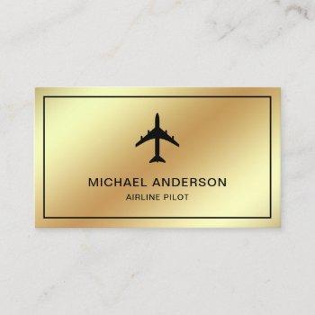faux gold foil jet aircraft airplane airline pilot business card