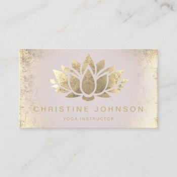 faux gold foil lotus flower business card