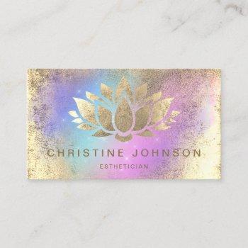 faux gold foil lotus on purple turquoise business card