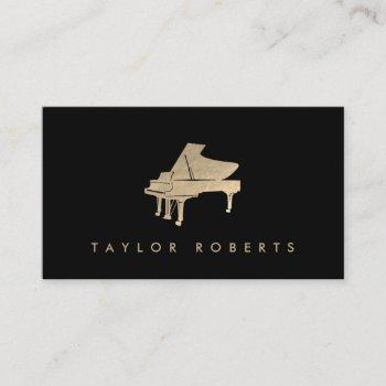 faux gold foil piano business card
