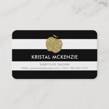 faux gold glitter apple teacher business cards