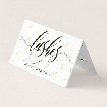 faux gold lashes calligraphy lash artist aftercare business card