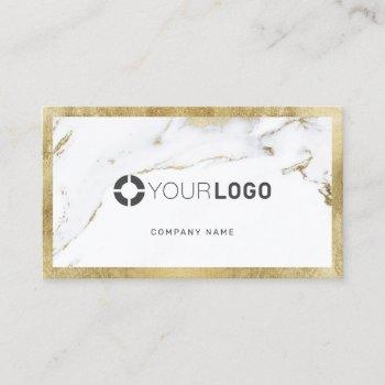 faux gold marble custom company logo professional business card