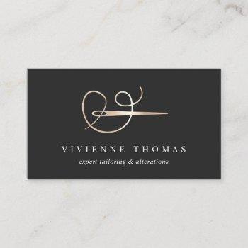 faux gold needle & thread | seamstress or tailor business card