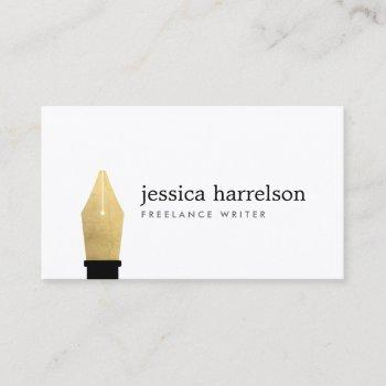 faux gold pen nib logo for writers, authors business card