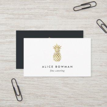faux gold pineapple business card