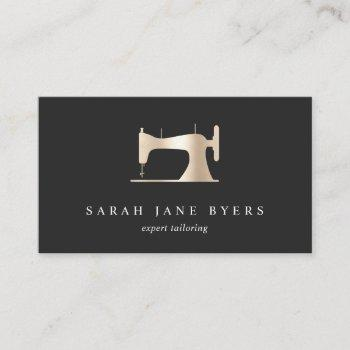 faux gold sewing machine | seamstress tailor business card