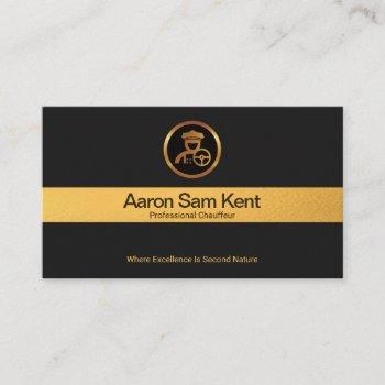 faux gold stripe retro black elegance chauffeur business card