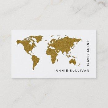 faux gold world map travel agent (on white option) business card