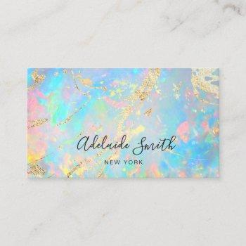 faux holographic opal stone texture business card
