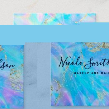 faux iridescence and faux gold foil details square business card