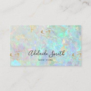 faux iridescent opal stone texture business card