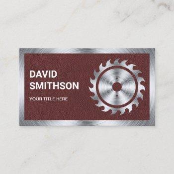 faux leather steel circular saw handyman carpenter business card