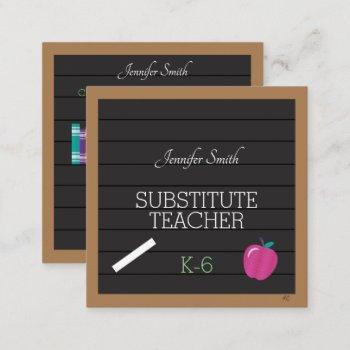 faux letter board teacher square business cards