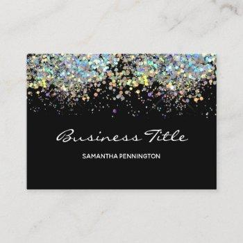 faux rainbow metalitic glitter with logo business card