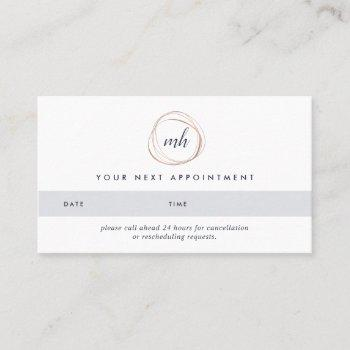 faux rose gold abstract logo appointment cards