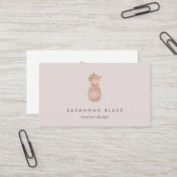 faux rose gold & cameo blush pineapple business card